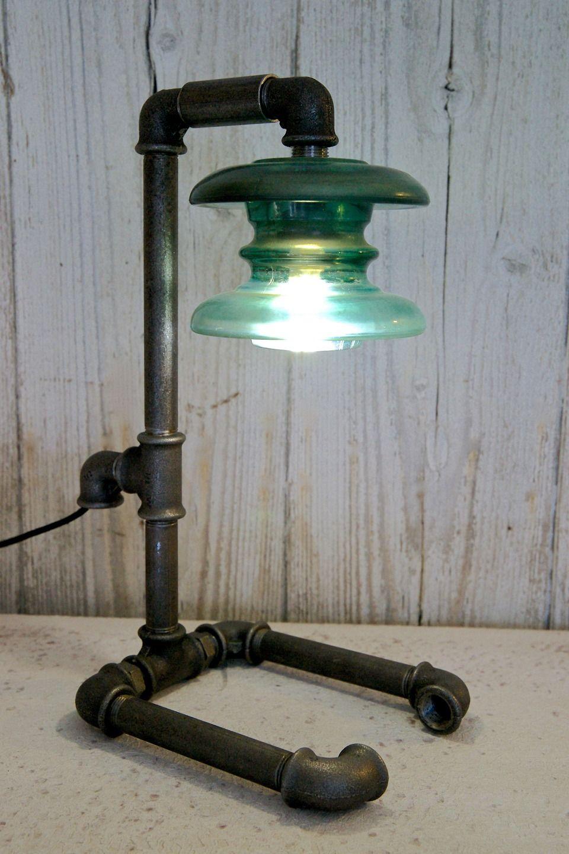 n 003 lampe poser style industriel steampunk abat jour isolateur unique et tonnant. Black Bedroom Furniture Sets. Home Design Ideas