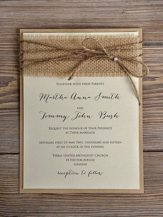 Rustic Blossom Wedding Invitation Country Style InvitationsBirch Bark Invitations Burlap