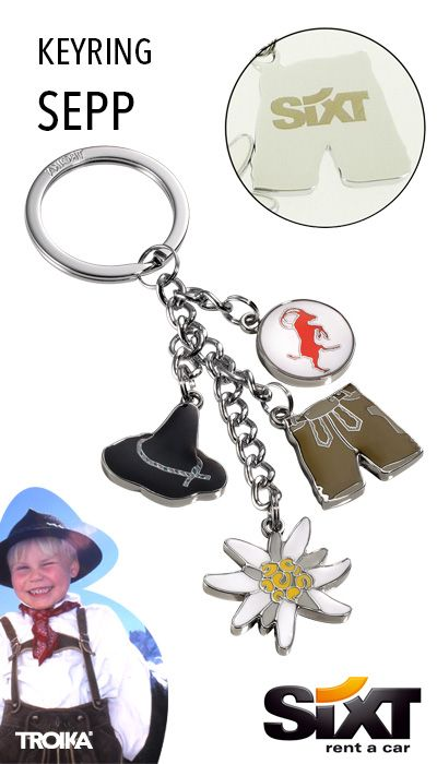 TROIKA SEPP - SIXT engraving. Keyring with 4 charms: traditional bavarian hat, Lederhosen, edelweiss and capricorn *** Schlüsselanhänger mit 4 Anhängern: Seppelhut, Lederhose, Edelweiß und Steinbock