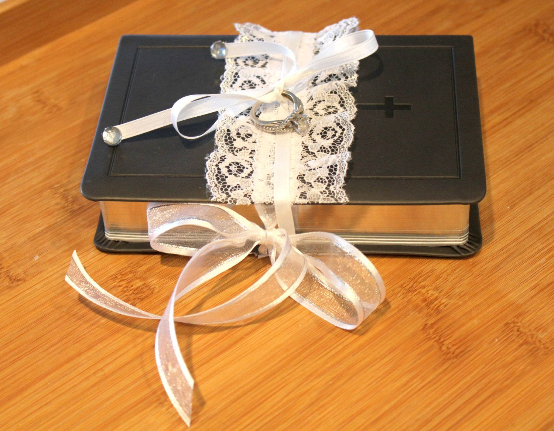 Ring Bearer Bible White Vintage Lace Grey \u0026 Silver. Wedding Ring Pillow Alternative. & Ring Bearer Bible White Vintage Lace Grey \u0026 Silver. Wedding Ring ... pillowsntoast.com
