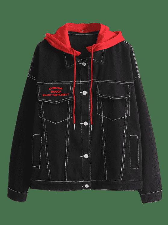Color Block Hooded Denim Jacket Black Off White Hooded Denim Jacket Red Denim Jacket Clothes Design