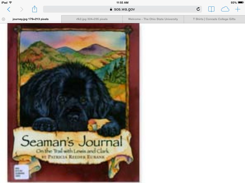 Awwww.  Seaman was Lewis and Clark's wonderful Newfoundland.  Imagine the adventures this Newfie had!