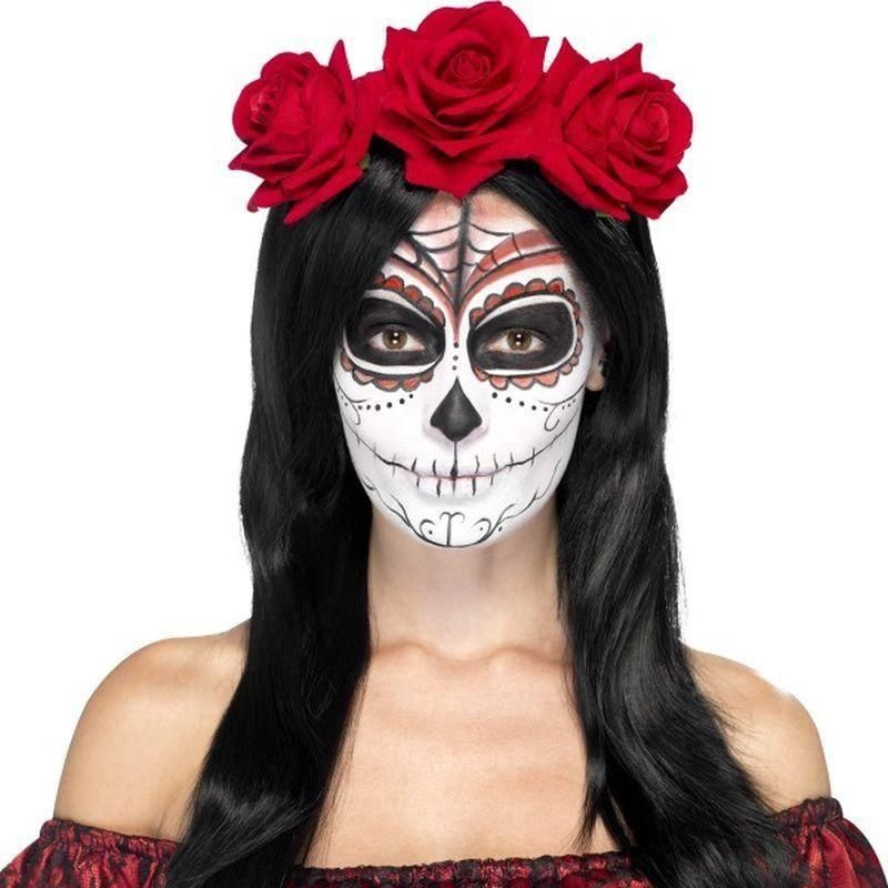 Red rose Day Of The Dead Skeleton fancy dress adult womans Halloween costume