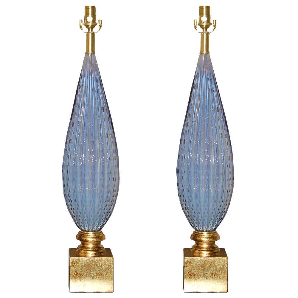 Barbini Lilac Opaline Murano Lamps with Controlled Bubbles | Swank Lighting $5500