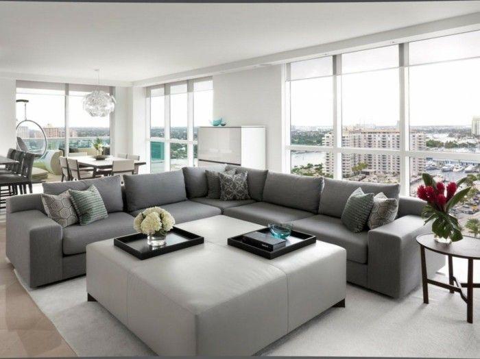 wohnzimmer grau möbel blumen weißer teppich Farben \u2013 neue Trends - wohnzimmer ideen grau