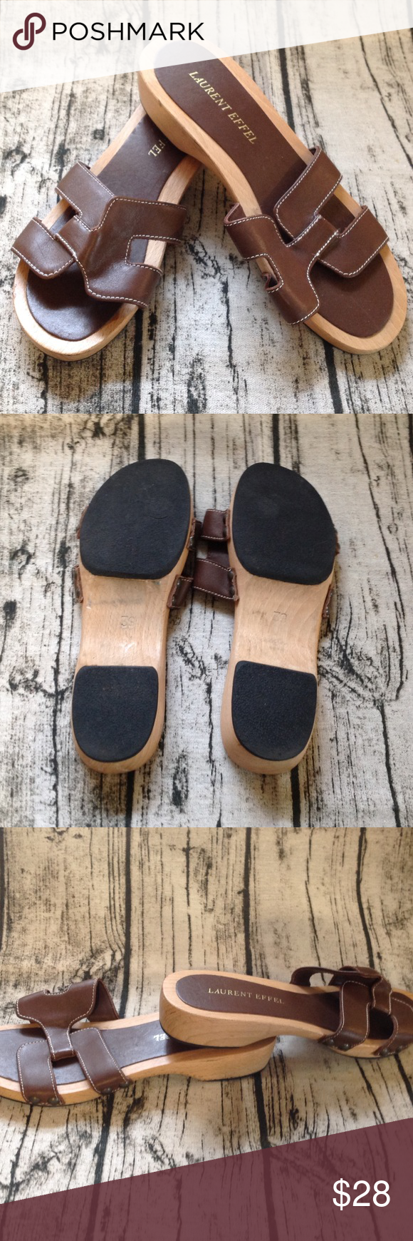 3649792940f Laurent Eiffel Sandals Nice wooden sandal with leather upper. Size 9 and in  very good condition. 1