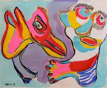 Karel Appel - Christiaan Karel Appel, conhecido como Karel Appel (Amsterdão, 25 de Abril de 1921 — Zurique, 3 de Maio de 2006) foi um pintor, designer, artista gráfico, escritor e escultor neerlandês e co-fundador do grupo CoBrA, em 1948.(...)http://pt.wikipedia.org/wiki/Karel_Appel