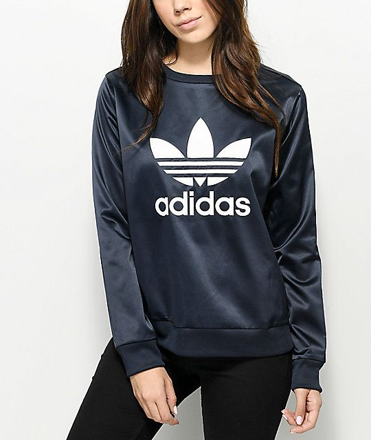d123adf1adabe adidas Trefoil Dark Blue Ink Crew Neck Sweatshirt in 2019   My style ...