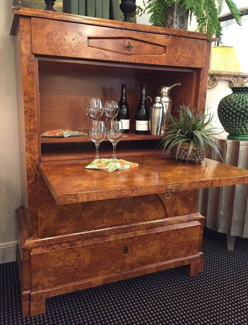 home bar inspiration; Biedermeier style bar-chest with drop front ...