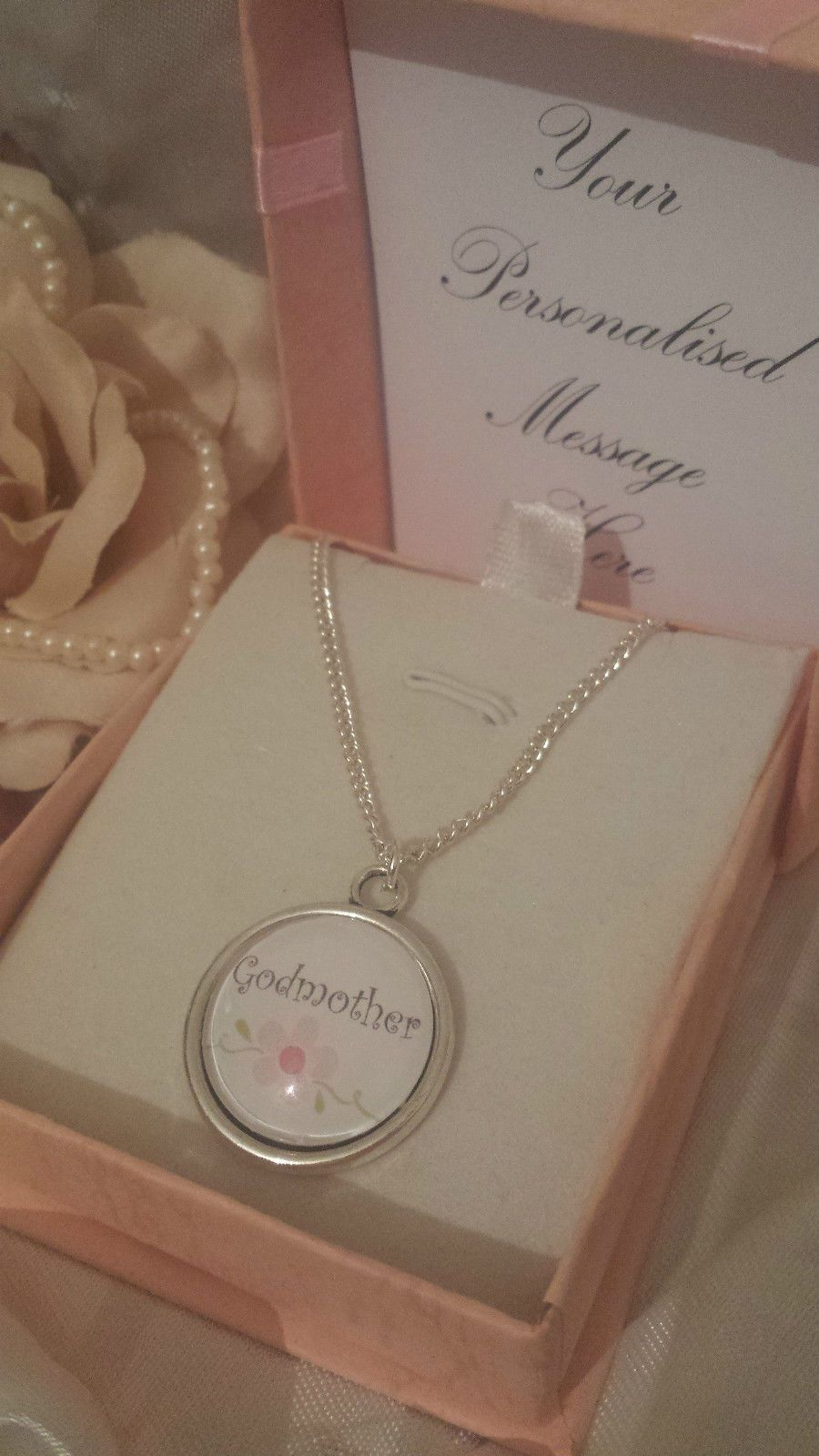 14 05 Aud Silver Plated Necklace With Pretty Charm Any Name