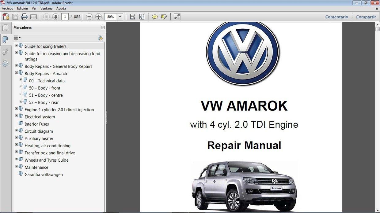 Vw Amarok 2 0l Tdi Workshop Repair Manual Manual De Taller Vw Amarok Repair Manuals Tdi