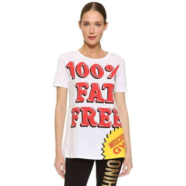 Moschino 100% Fat Free T-Shirt (1.185 NOK) ❤ liked on Polyvore featuring tops, t-shirts, white, short sleeve t shirt, relax t shirt, white t shirt, jersey t shirts and white jersey