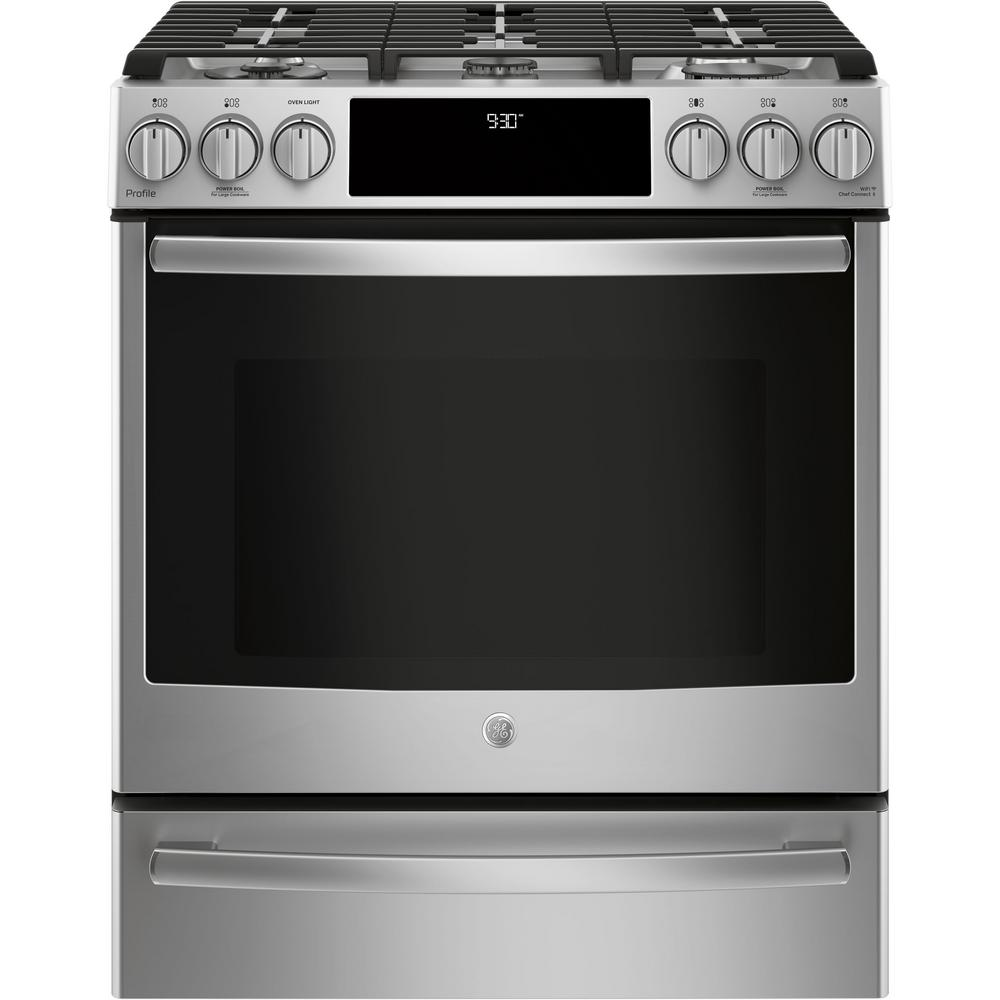 Ge Profile 5 6 Cu Ft Smart Slide In Gas Range With Self Cleaning