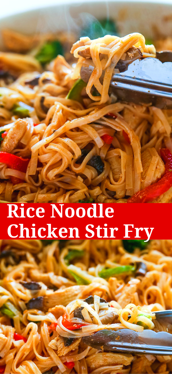 30-Minute Rice Noodle Chicken Stir Fry #healthystirfry