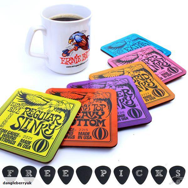 6 x Ernie Ball Drinks Coasters Guitar Gift Slinky | Trade Me
