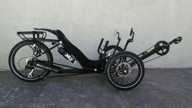 Kmx Typhoon With Luggage Rack And Stand Assists Recumbent Bicycle Moto Bike Trike
