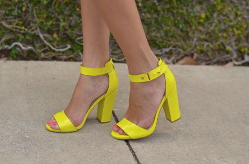 Heels, Ankle strap shoes, Neon high heels
