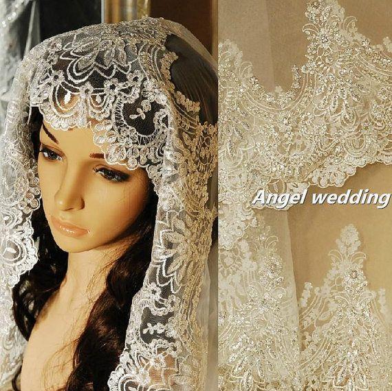 Vintage Wedding Veil Bridal Cathedral Length Fingertip Alencon Lace Trim Beaded On Etsy