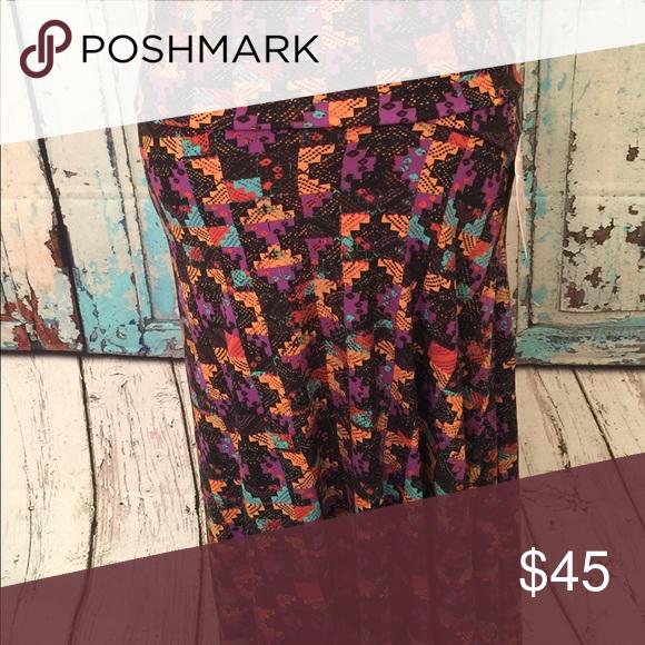 Maxi skirt /dress small Multi color on black LuLaRoe Skirts Maxi