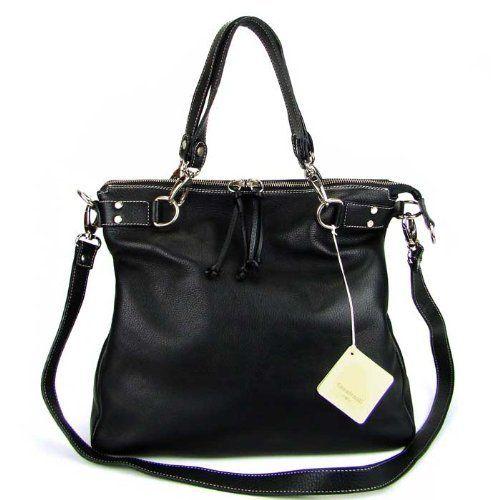 c4c2b60deb CAVALCANTI Italian Made Black Calf Leather Designer Tote Handbag ...