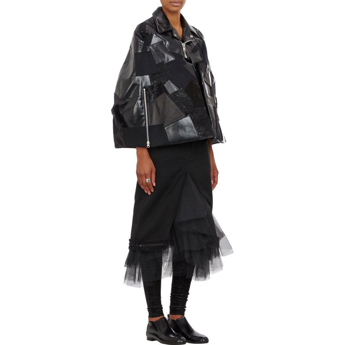 http://www.lyst.com/clothing/junya-watanabe-patchwork-mixed-fabric-biker-cape-black/?product-gallery=45294639