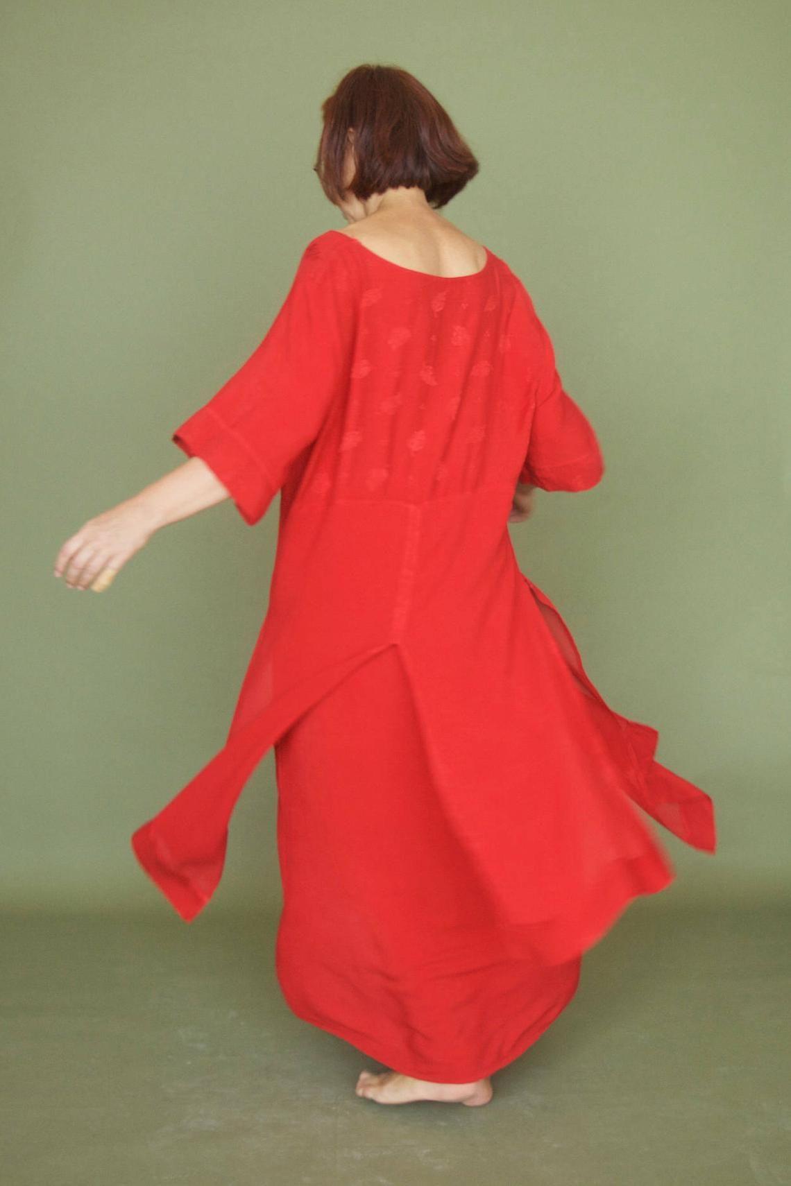 Red Dress Vintage 80s Lipstick Red Maxi Babydoll Womens Dress Boho