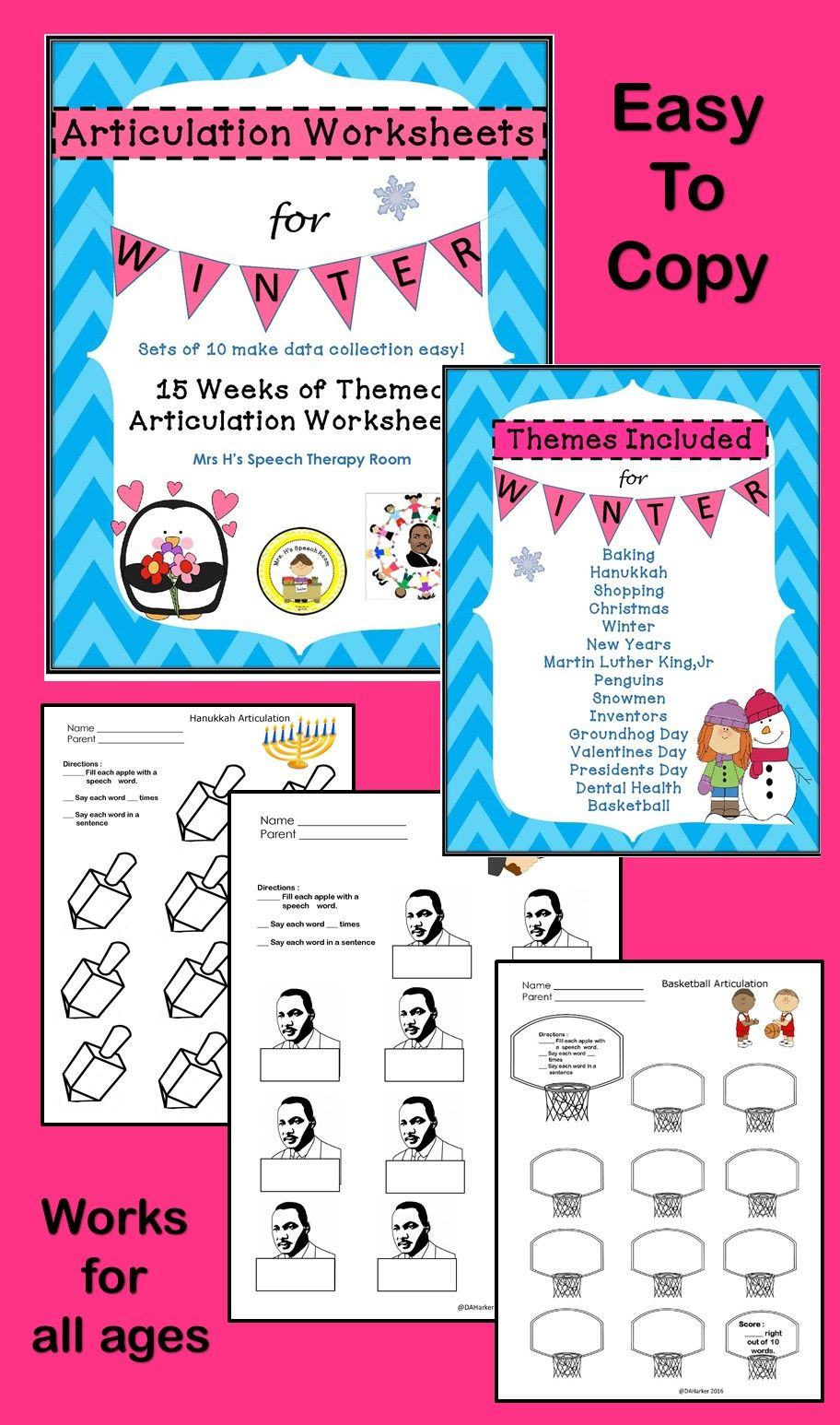 Articulation Winter Speech Therapy Worksheets -Data Friendly ...