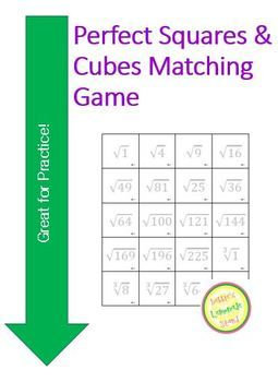 Square Root Cube root 8.EE.2 Matching Game - Flash Cards ...