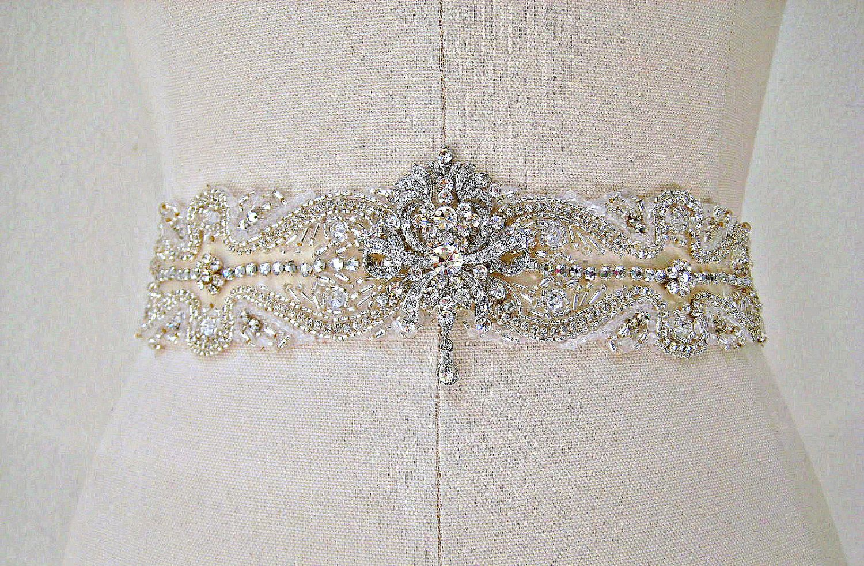 VINTAGE ROMANCE exquisite beaded crystal sash/belt by IngenueB