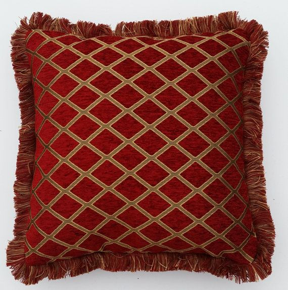 Large Chenille Red Gold Embroidered Throw Pillows With Fringe House Pinterest And