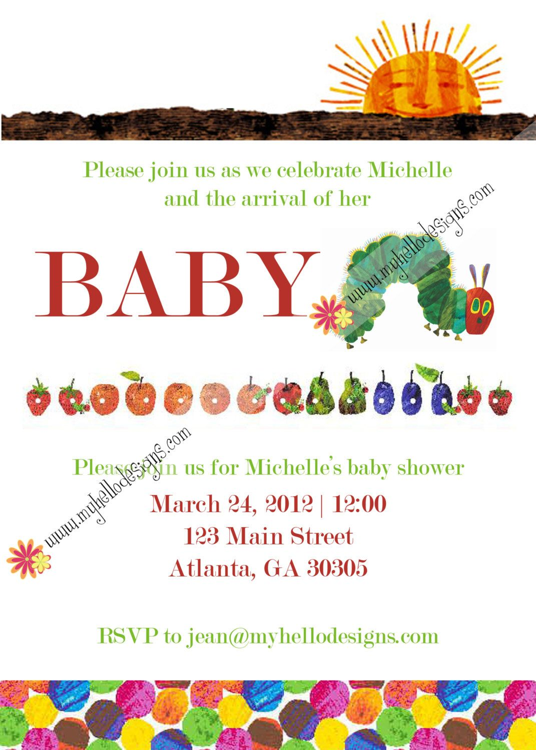 Gender Unknown Shower Invitation: Very Hungry Caterpillar. | Party ...