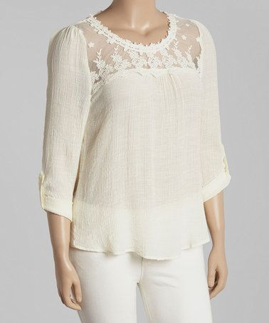 Love this Natural Lace-Yoke Peasant Top - Plus by Blu Pepper on #zulily! #zulilyfinds