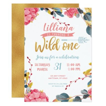 Girl wild one boho floral first birthday invite birthday cards girl wild one boho floral first birthday invite birthday cards invitations party diy personalize customize filmwisefo