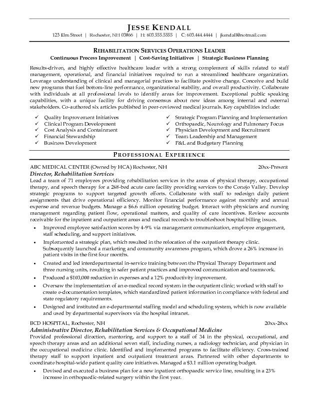 Medical Director Resume Sample -    wwwresumecareerinfo - physical therapist sample resume