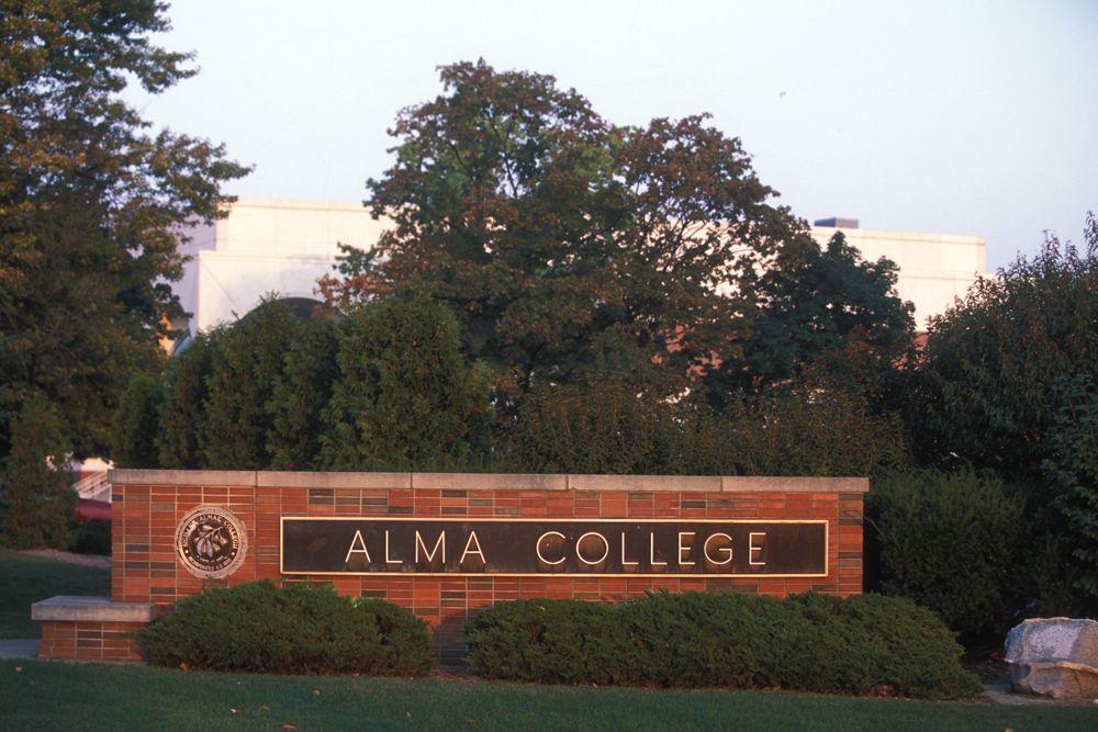 "Redman Gate says, to Alma College!"" Alma"