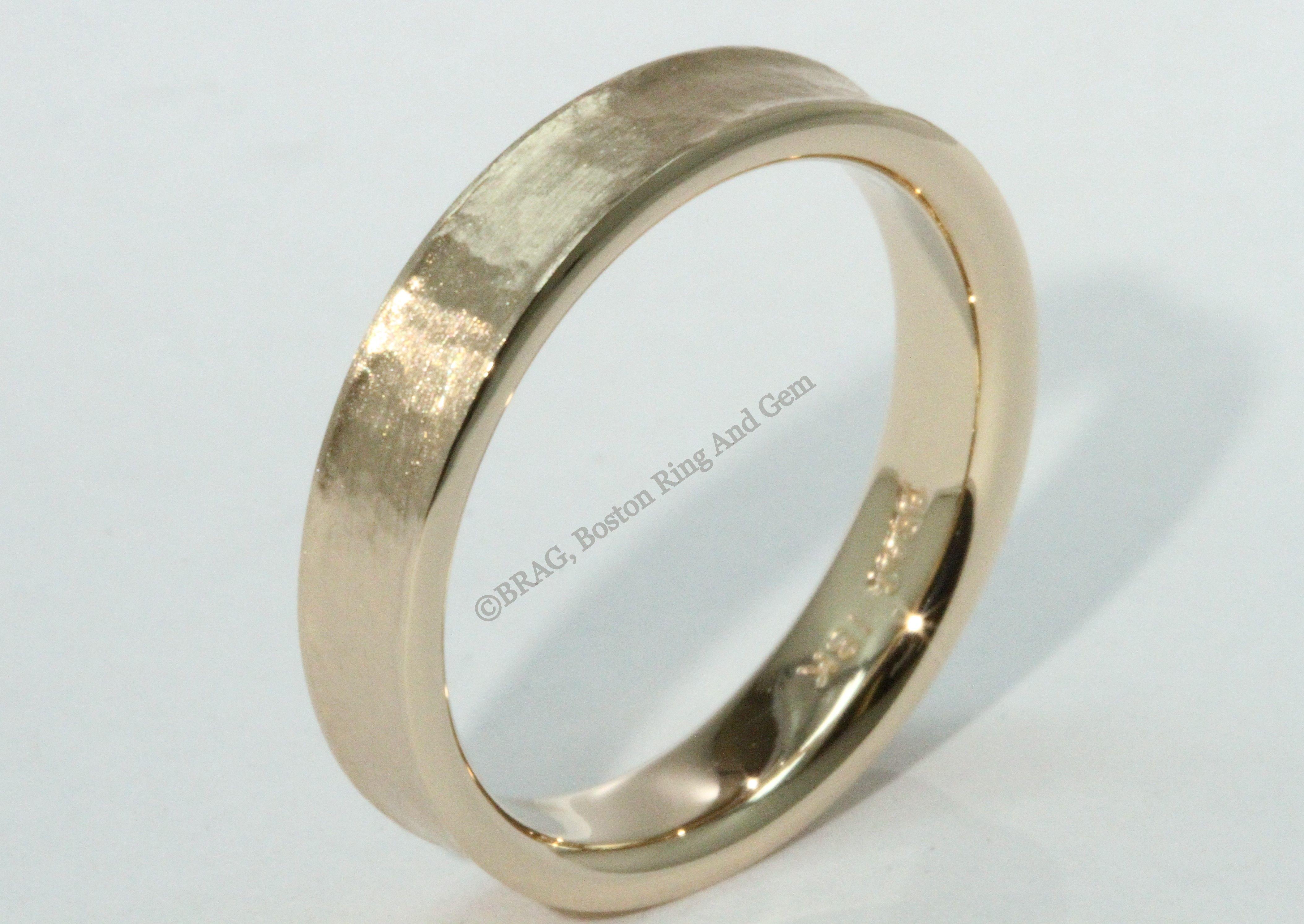 18k Rose Gold Flat Hammered Men S Wedding Bands With High Polish Raised Edge Platinum Gold Rosegold Yello Mens Wedding Rings Boston Jewelry Wedding Rings
