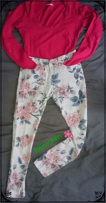 d8422d39c trendige geblümte helle Damen Jeans