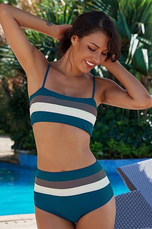 def4dd4ddd Bralette High Waist Bikini Set Blue Women s Swimsuit Style Modest High  Waist Swimsuit Styles Blue Bikini Set ...