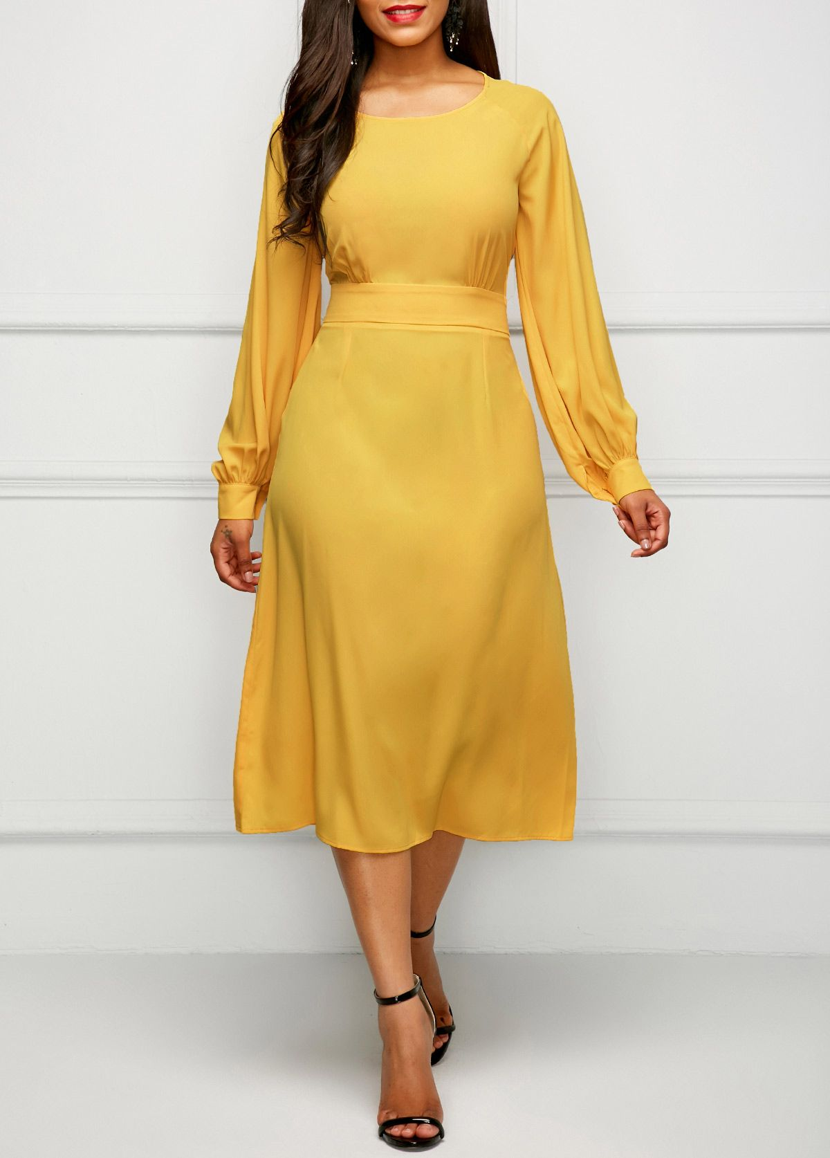 Yellow Band Waist Long Sleeve Dress  6be8f26c2c98