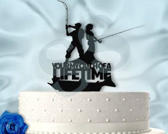 Wedding Party Reception Fishing Fisherman Sign Tackle Box Pole Funny Cake Topper