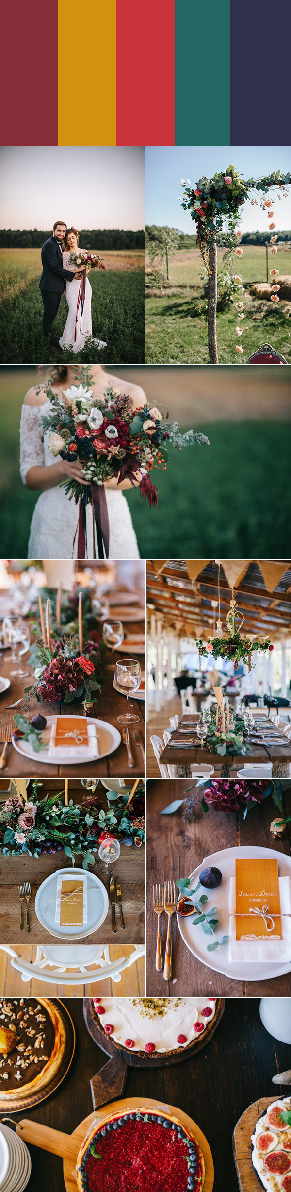 If You 39 Re Planning A Rustic Wedding At A Barn Ranch Or Farm Get Inspired By These Five Rustic Wedding Colors Wedding Color Palette Rustic Wedding Table