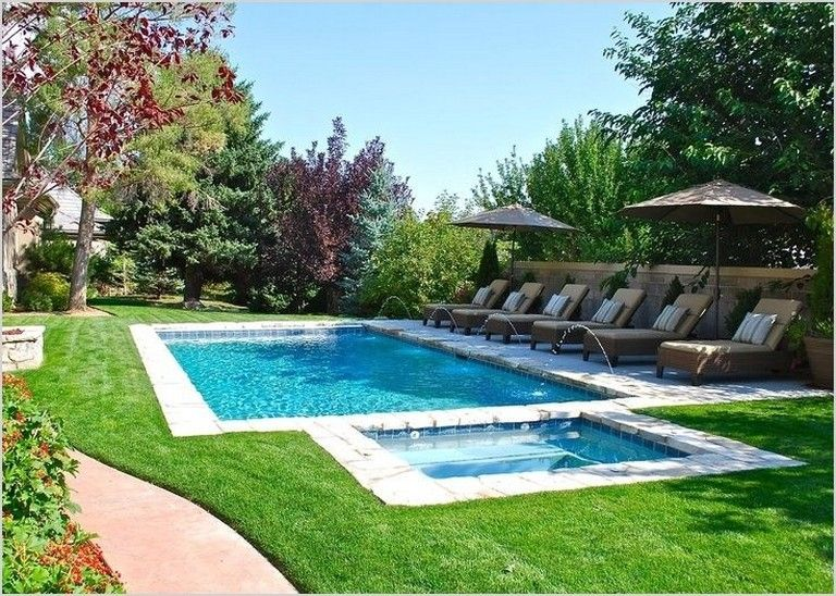 35 Awesome Rectangle Pool Landscaping Ideas Rectangle Pool