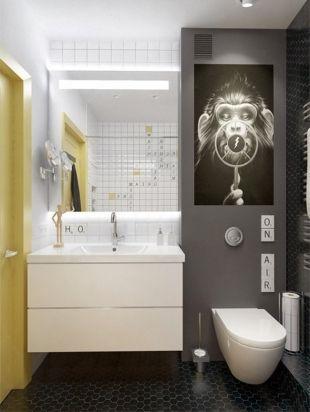 Salle de bain jaune, noir et blanc   Salle de bains // Bathroom ...