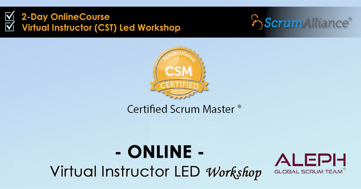 Certified Scrum Master Virtual Instructor Led Workshop Early Bird Price 997 Scrum Master Scrum Virtual Class