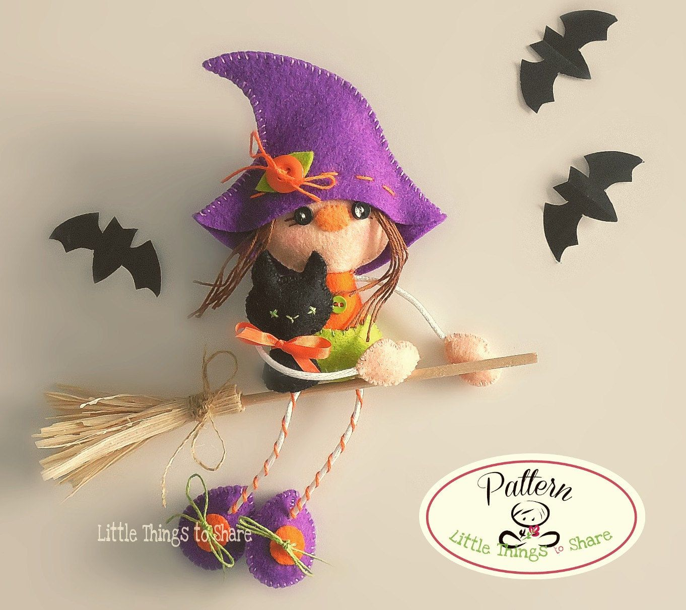 Witch and Cat-PDF Sewing pattern-Halloween ornaments-Halloween decor ...