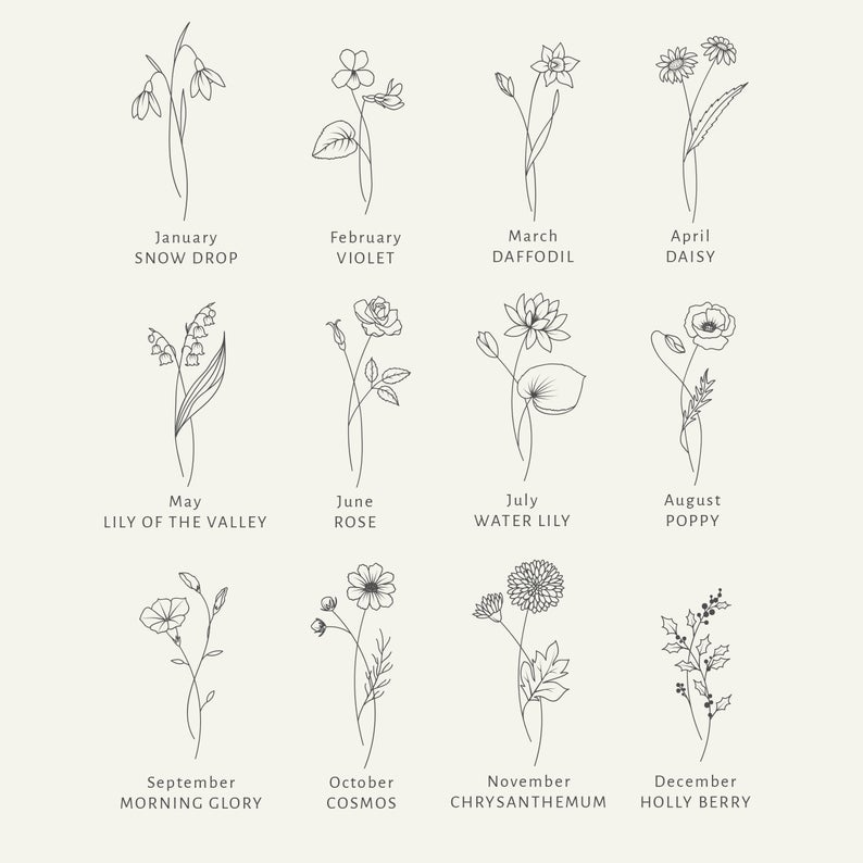Birth Month Flowers SVG Clipart - Floral Svg Bundle - Botanical Clipart PNG - Summer Svg Files - Hand Drawn Clipart -   18 beauty Flowers tattoo ideas
