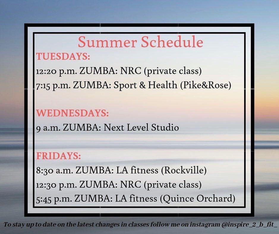 Summer Workout Calendar Fitness Class Class Schedule