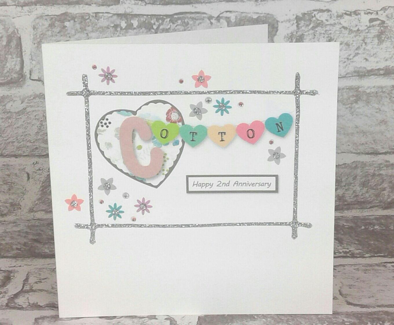 2nd Wedding Anniversary Card Cotton Anniversary