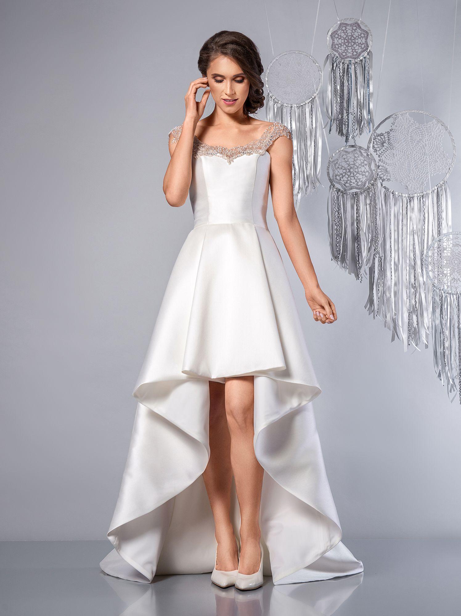 159be5da51 Happy - suknia ślubna krótki przód. Wedding dress short front long back  embroidered straps.