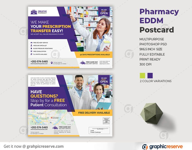 Pharmacy Services EDDM Postcard in 2020 Postcard design
